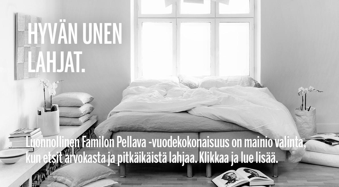Luonnollinen Familon Pellava -vuodekokonaisuus (kuvassa) on mainio valinta, kun etsit arvokasta ja pitkäikäistä lahjaa